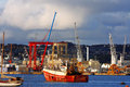 Cranes and ships in the dock, Plymouth, Royalty Free Stock Photos