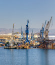 Cranes in a shipyard Stock Photography