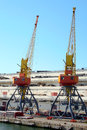 Cranes two in the port Stock Image