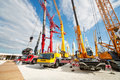 Cranetrucks and caterpillar cranes moscow may at th international specialized exhibition cet at the international exhibition Stock Image