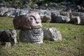 Cranium of stone kabah yucatan mexico Royalty Free Stock Photos