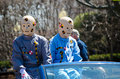 Crash test dummies on display characters ride in the blossom time parade in st joseph michigan Royalty Free Stock Images