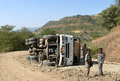 Crash truck flipped in the roby ethiopia november mountains roby ethiopia november strangers near a Royalty Free Stock Photography