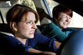Crash two women bracing for a car accident Stock Photos