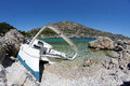Crashed boat at anthony quinn bay greece rhodes Royalty Free Stock Image