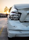 Crashed car the accident on road insurance concept Stock Photos