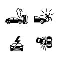 Crashed cars. Simple Related Vector Icons