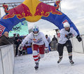 Crashed ice competitors belgium red bull s Stock Image