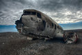 Crashed palne wreck of a us military plane in the middle of the nowhere the plane ran out of fuel and in a desert not far from Stock Photos