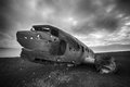 Crashed palne wreck of a us military plane in the middle of the nowhere the plane ran out of fuel and in a desert not far from Stock Photo