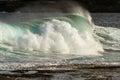 Crashing powerful surf wave at beach Royalty Free Stock Photo