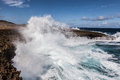 Crashing waves at boka ascension curacao coast Royalty Free Stock Photo