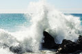 Crashing waves point dume malibu los angeles pacific ocean Stock Photo
