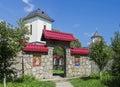 Crasna monastery entrance in beautiful old orthodox in izvoarele village prahova county romania Royalty Free Stock Image