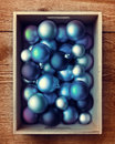 Crate of blue ornaments Royalty Free Stock Photo