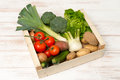 Crate Filled with Assorted Fresh Vegetables Royalty Free Stock Photo