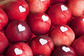Crate of nectarine with heart shaped blank labels Stock Image