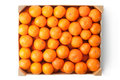 Crate ripe tangerines top view laying white Royalty Free Stock Photos