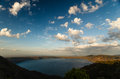 Crater lake in dormant volcano Laguna de Apoyo. Stock Photo