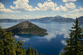 Crater lake oregon national park with partly covered with ice Stock Image