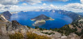 Crater lake oregon wide angle view of form the top of watchman s peak beautiful landscape in Royalty Free Stock Photo