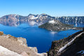 Crater lake in south oregon a wide view at and wizard island np of Royalty Free Stock Photos