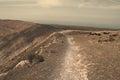 Crater rim trail on the of the caldera blanca lanzarote Stock Photo