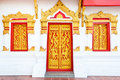 Craved window and door with thai painting frame Stock Photos