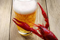Crawfish and a glass of beer Stock Photography