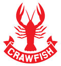 Crawfish label silhouette crayfish icon lobster sign symbol Royalty Free Stock Photo