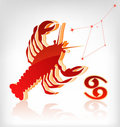 Crawfish zodiac astrology icon for horoscope Stock Photography