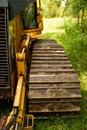 Crawler dozer track pad and cab detail continuous tracked tractor bulldozer Stock Images