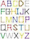 Crayon alphabet - english characters Royalty Free Stock Photo