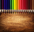 Crayon art background colorful on wood background Royalty Free Stock Photography