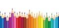 Crayon background. Colorful pencil seamless horizontal border pattern. Royalty Free Stock Photo
