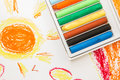 Crayon box on art background of kid Royalty Free Stock Photos