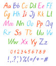 Crayon child`s drawing alphabet. Pastel chalk font. ABC drawing letters.