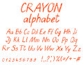 Crayon child`s drawing alphabet. Royalty Free Stock Photo