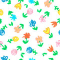 Crayon child`s drawing of flowers on white. Seamless hand painting pattern with pastel color.