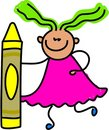 Crayon kid Stock Images