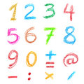 Crayon numbers Royalty Free Stock Photography