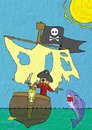 Crayon Painting Pirate in Boat Fighting Shark Stock Photos