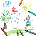 Crayon set with kid drawing Royalty Free Stock Photo
