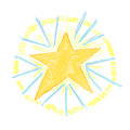 Crayon sun burst light airy and fun hand drawn star with characteristics Stock Images