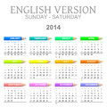 Crayons calendar english version sun � sat colorful sunday to saturday with illustration Stock Photos