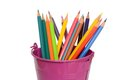 Crayons colored pencils in the bucket Royalty Free Stock Image