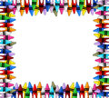 Crayons frame multicolored with white background for copy space Royalty Free Stock Image