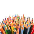 Crayons heap of over white background Royalty Free Stock Image