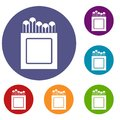 Crayons icons set Royalty Free Stock Photo