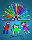 Crayons and kids drawing. Stock Photos